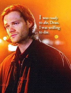 """[gif] """"I was ready to die, Dean. I was willing to die."""" - Sam Winchester #Supernatural 9.10 Road Trip"""