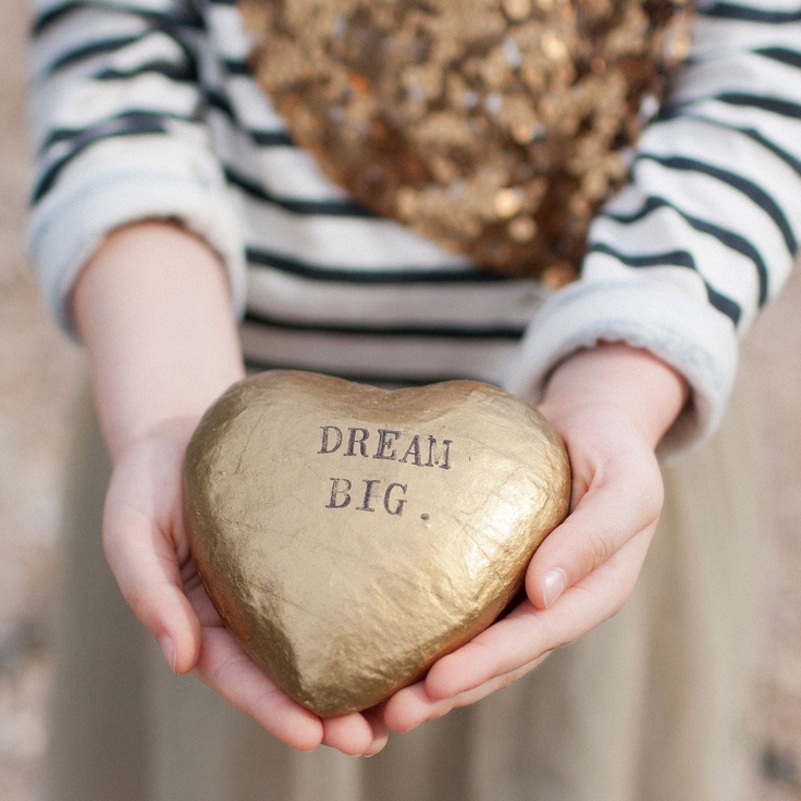 CUSTOM heart of gold- papier mache sculpture with your personalized words by Palomas Nest. $28.00, via Etsy.