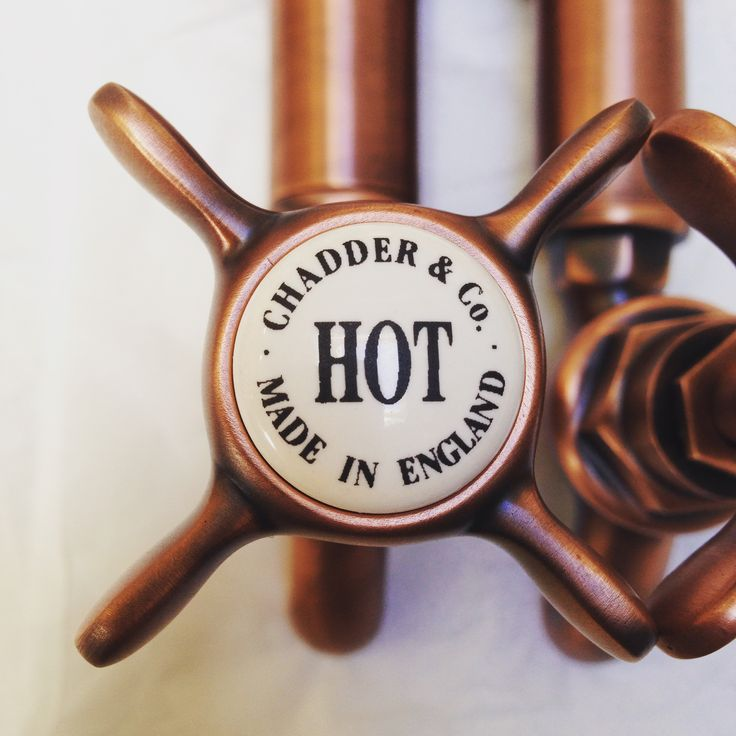 Chadder Bib Taps in wall with cross heads in our unique French Copper Finish…