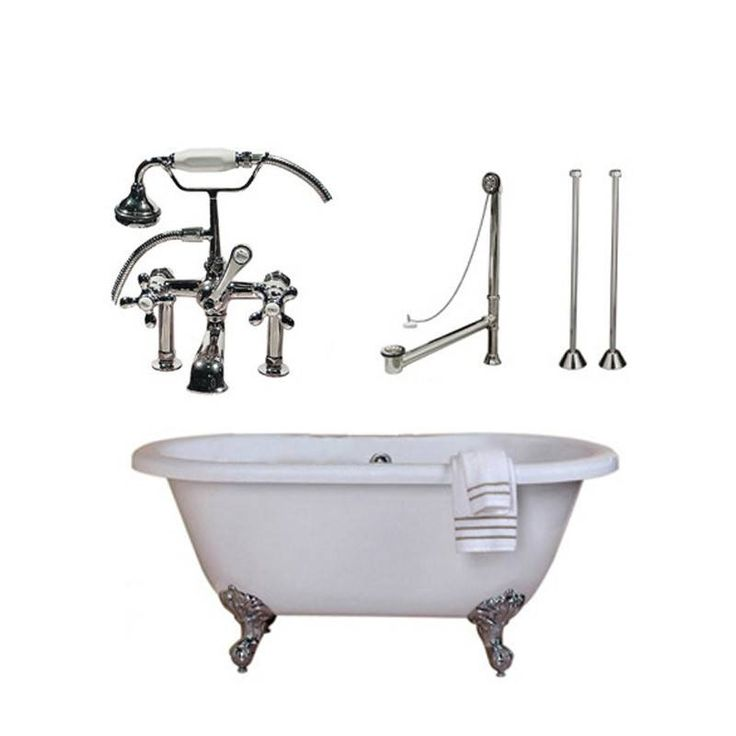 Randolph Morris Acrylic Tub And Faucet Package 60 Inch Double Ended Bathtub