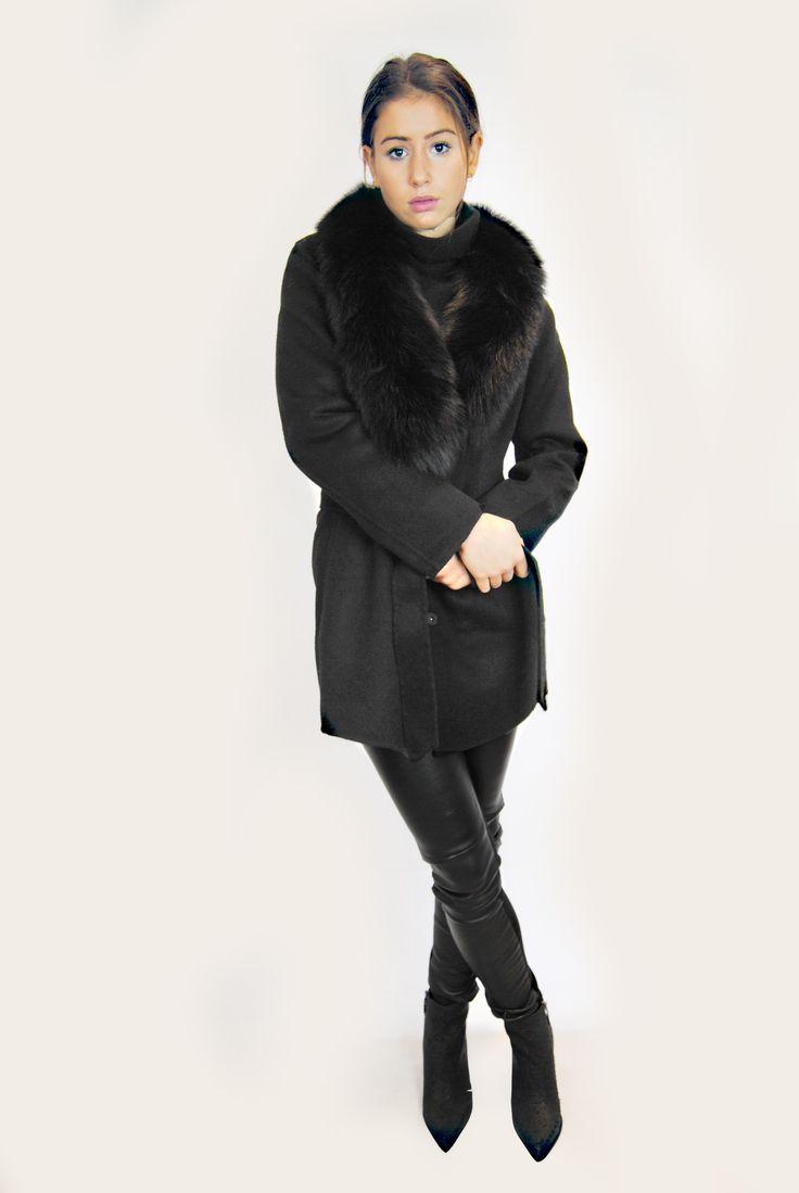 JESSIMARA BLACK SHORT WOOL & CASHMERE FOX COAT