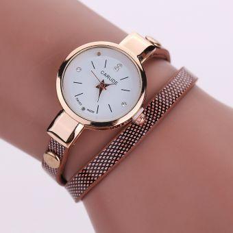 Simple, elegante ambiente con vueltas finas de línea minimalista reloj de la correa de la PU con el diamante