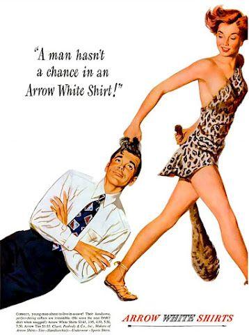 Advertisement for Arrow shirts  Source: Pin Up Cartoon Girls