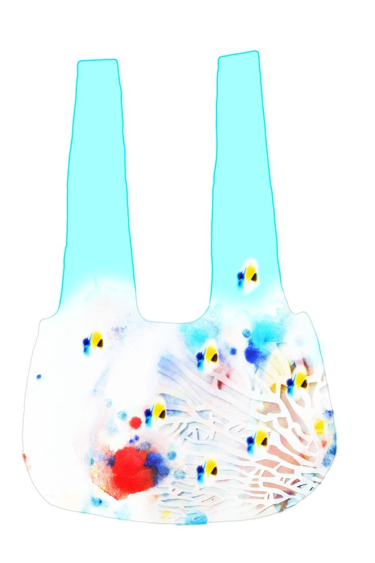 Handbag with Great Barrier Reef motif (manipulate inkwork and coral cutout)