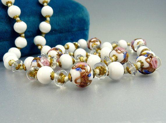 Vintage Round Navy /& Gold Murano Glass Wedding Cake Earrings