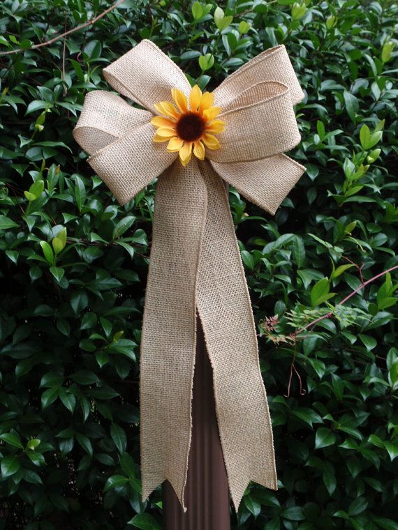 10 Shabby Chic Natural Burlap Yellow Sunflower Pew Bows Wedding Decorations Chair Fence Bridal