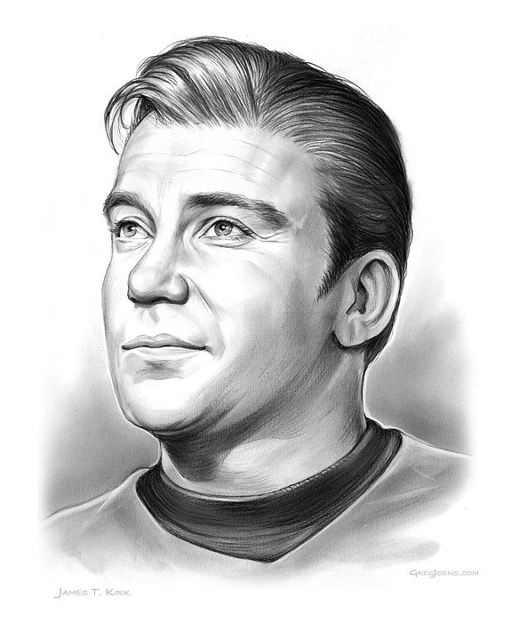 Capt. James T. Kirk  Pencil sketch of James T. Kirk, Captain captain of the USS Enterprise from the 1960s TV show Star Trek starring Actor William Shatner.