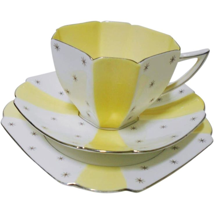 Shelley yellow panel Silver pole star teacup trio, Queen Anne