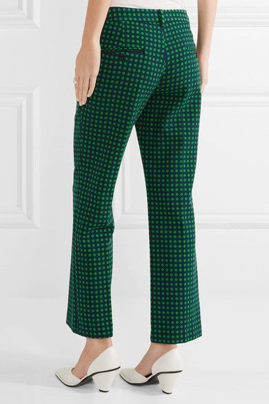 Michael Kors Collection - Polka-dot Stretch-wool Straight-leg Pants - Green - US14