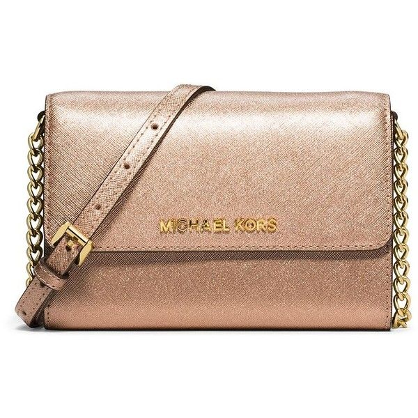 MICHAEL MICHAEL KORS Jet Set Saffiano Leather Crossbody Bag ($165) ❤ liked on Polyvore featuring bags, handbags, shoulder bags, apparel & accessories, pale gold, convertible handbag, crossbody purse, michael michael kors crossbody, michael michael kors shoulder bag and cross body