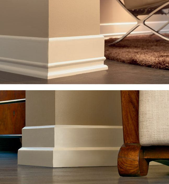See examples of wood baseboard molding which look so much nicer than tile skirting at the base of walls.