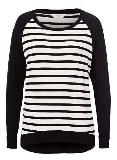 Viscose/Elastane Stripe Front Ls Tee. Comfortbale fitting silhouette features a rib scoop neck, raglan sleeves with front and back body stripe with dipped hem. Available in various colours as shown.