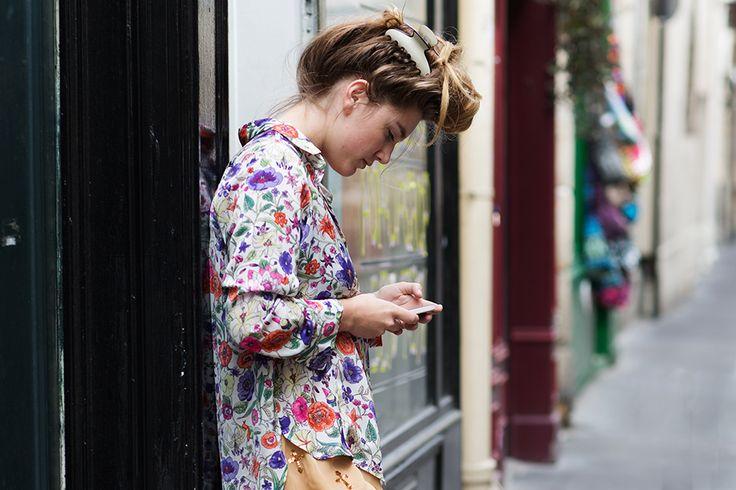 love how the color on the shirt repeats down the street  On the Street……Le Marais, Paris « The Sartorialist