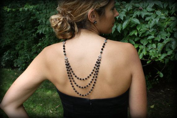 Backdrop Necklace-Vintage Necklace-Black Necklace-Back Drop Necklace-Homecoming Jewelry-Wedding Necklace-Backwards Necklace-Special Occasion on Etsy, $119.00