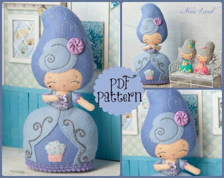 PDF.Marie  Antoinette doll with baby Antoinette .Plush Doll Pattern, Softie Pattern, Soft felt Toy Pattern.. , via Etsy.
