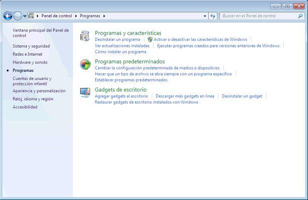 Qué es el Panel de control de Windows 7 y qué hay en él: Programas