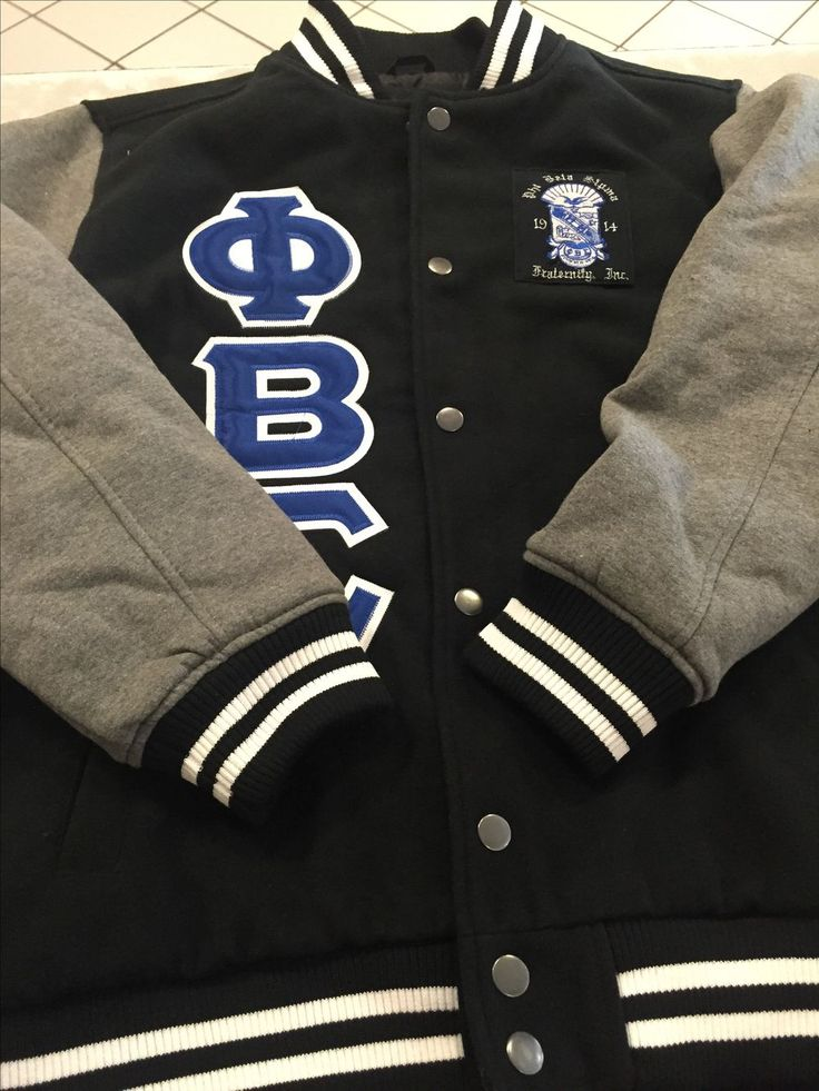Black Phi Beta Sigma Letterman with Embroidered Crest via GreekExpressions D9 Embroidery Specialis…. Click on the image to see more!