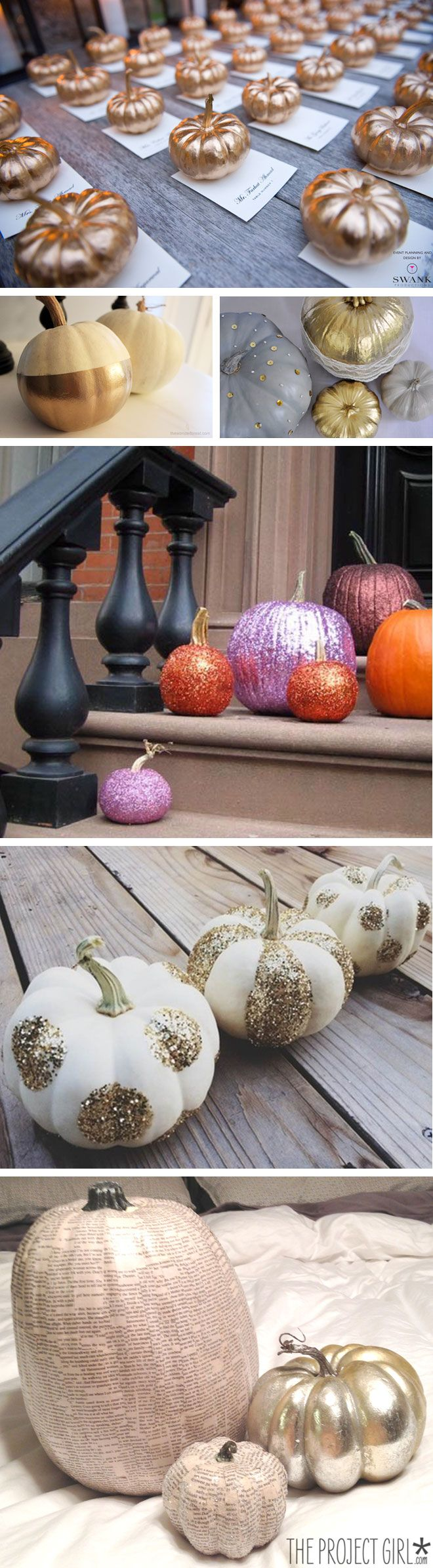 Gold and silver pumpkins look fantastic and have a hint of Cinderella about them - #Halloweenwedding, #autumnwedding decoration and venue ideas. https://twitter.com/CHWV