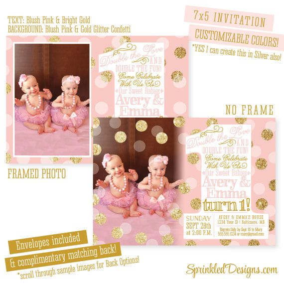 blush pink gold glitter first birthday invitation twin girls