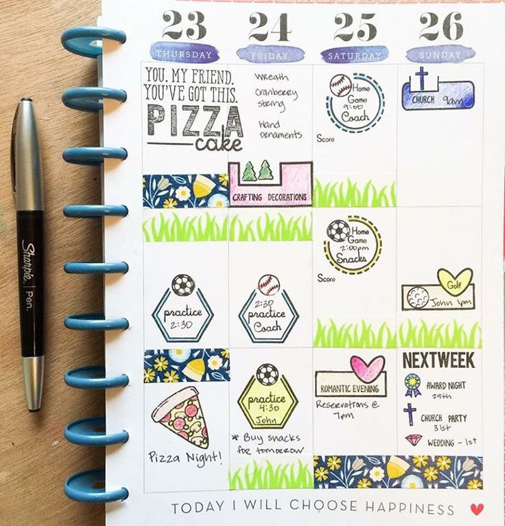 Planner page created by designer Tiffany O'Grady using the Sweet Stamp Shop Basic Tabs, Pizza Cake, Play Ball and Plan Holidays stamp sets