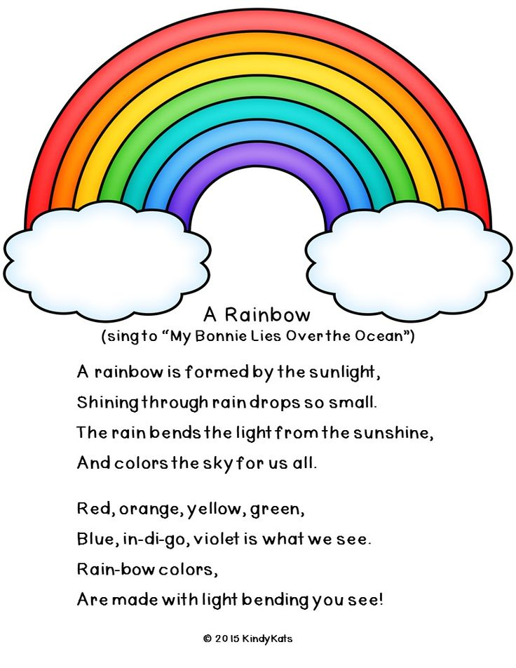 "If you like this FREEBIE scientific song about rainbows, you'll love the rest of the poems, chants, and fingerplays in ""What's the Weather Today?"" available at Teachers Pay Teachers!"