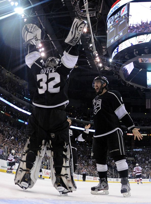 Drew Doughty #8 And Jonathan Quick #32