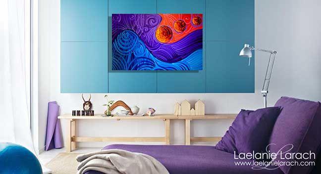 purple larach art, abstract painting by Miami artist Laelanie Larach, Honduran artist. Latin american art Miami.