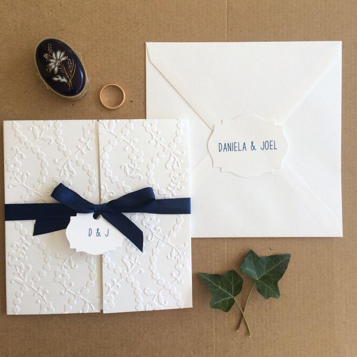 Elegant and soft invitation.. Blu & white stationery by Danielle Design