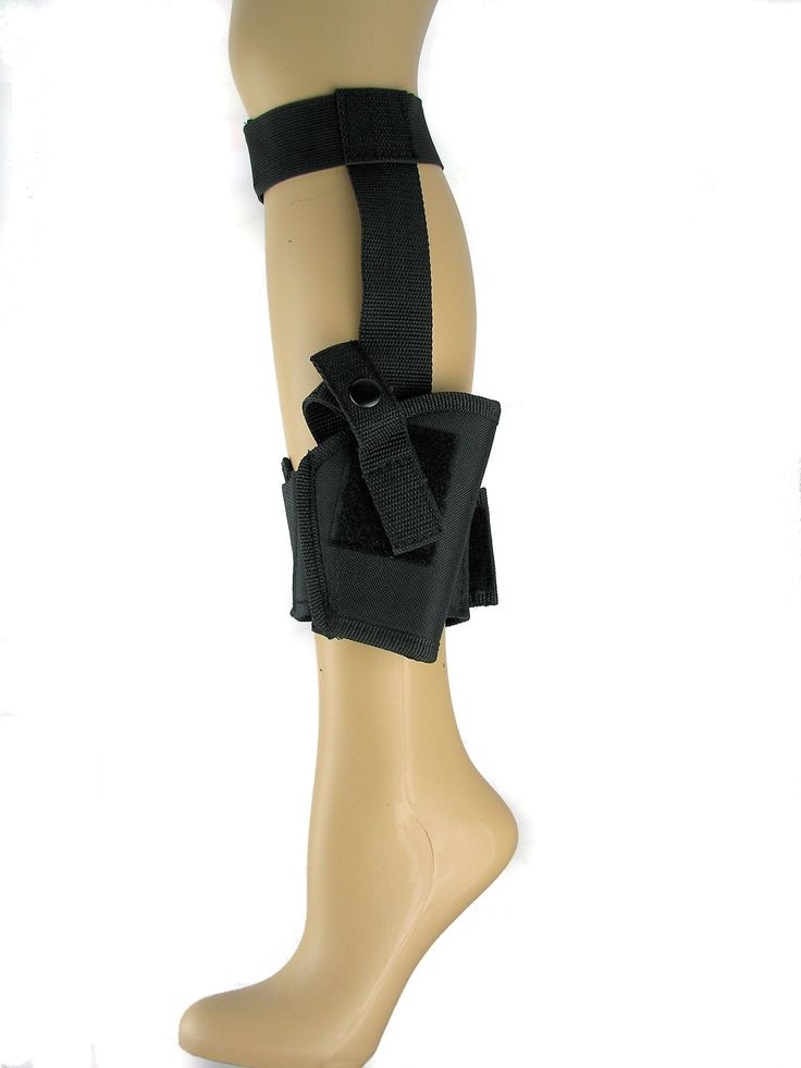 17.50 Ankle Holster This fully secured ankle holster is a concealed carry for those people who want security without the bulk of a belt holster. The elastic calf strap keeps the ankle holster secure. It has a heavy duty velcro closure and the holster has a fully adjustable thumb break with a steel shank for quick access. You can wear the holster right or left-handed. It fits best with boot cut pants. The ankle holster weights 0.26 lbs. Not recommended for larger auto's such as Glocks.