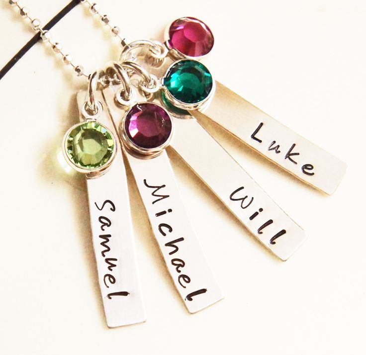 Personalized Name Necklace Mommy Grandma Jewelry Kids Custom Mothers Birthstone Necklace Four Tag Sterling Silver Gift for Mom. $60.00, via Etsy.