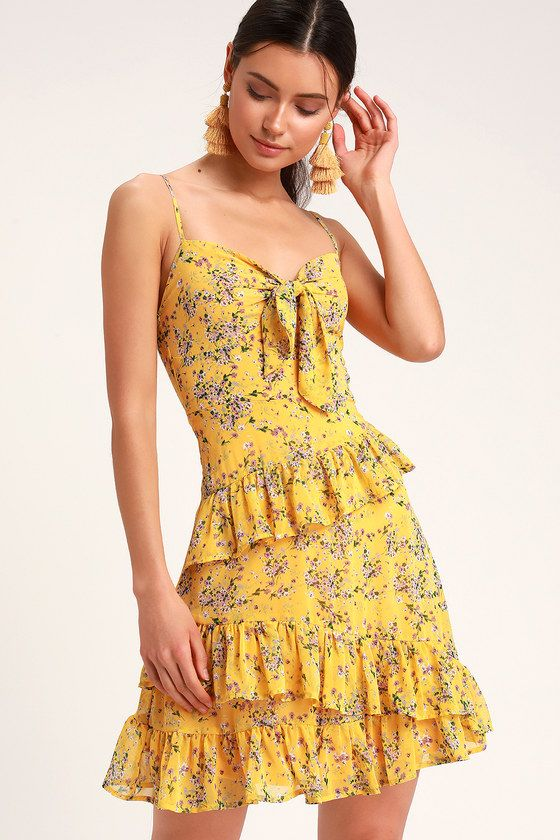 ddb765ccba ... like the Lulus Main Squeeze Yellow Floral Print Chiffon Tie-Front Mini  Dress! Lovely lightweight chiffon