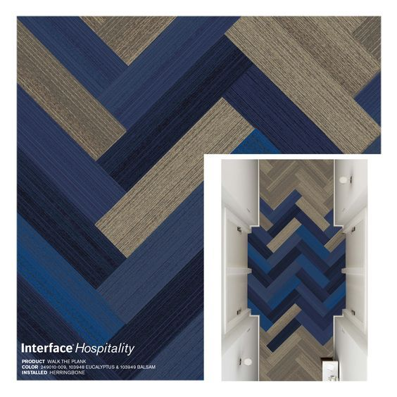 Interface Walk The Plank Carpet Tile, Herringbone Corridor: