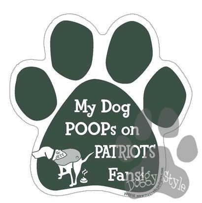 My Dog Poops On Patriots Fans Jets vs Patriots Football Dog Paw Magnet