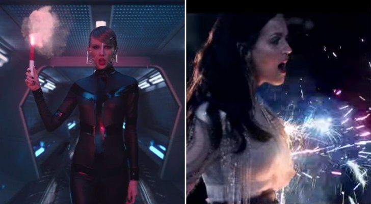 """Pin for Later: Here Are All the Possible Katy Perry Digs in Taylor Swift's """"Bad Blood"""" Music Video There are fireworks."""