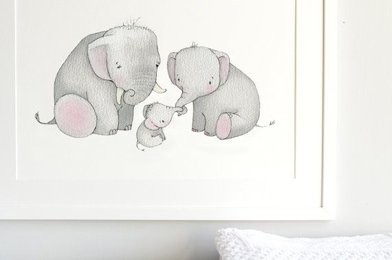 Elephant Family Nursery Art Kid's Fine Art by DaisyandBumpArt