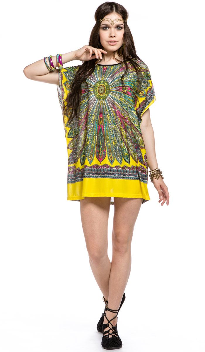 Летнее платье, туника, Короткое платье, этнический стиль, женская одежда из Индии, хиппи, бохо стиль, Short summer dress , ethnic style , women's clothing from India, hippie boho style, bohemian. 1320 рублей