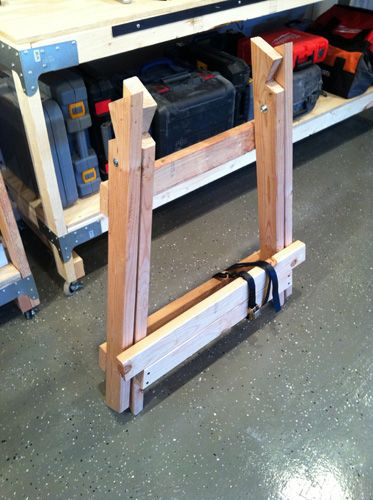 How to make a better saw horse: Wood Saw Horse, How To Make Saw Horses, Buildings Angled, Better Sawhorse, Projects Closer, Originals Creator, Earn Money, Angled Wooden, Wooden Sawhorse