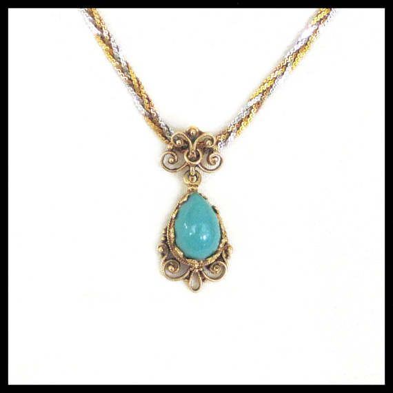 14K Gold and Turquoise Pendant / Retro from the 1960s / Vintage Inspired Design / Victorian Edwardian / Estate Jewelry