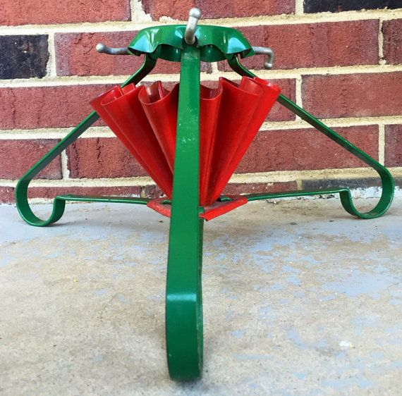 Vintage Metal Christmas Tree Stand. Red and by vintagepioneerco