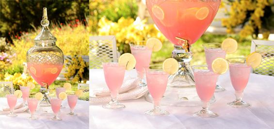 Champagne  Punch  Makes: 7 drinks  1 bottle (750-milliliter) white wine, Sterling Vineyards® Chardonnay  3 cups lemon-lime soda  1 can (12-ounce) frozen pink lemonade concentrate, thawed  1⁄2 cup citrus vodka, Ketel One Citroen®  Lemon slices