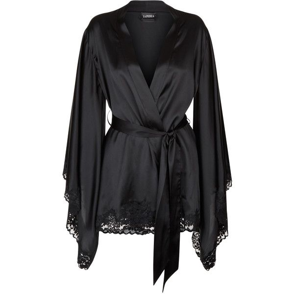 Black short kimono robe in stretch silk satin and Leavers lace ❤ liked on Polyvore featuring intimates, robes, bath robes, floral robes, lace kimono, dressing gown and satin lace robe