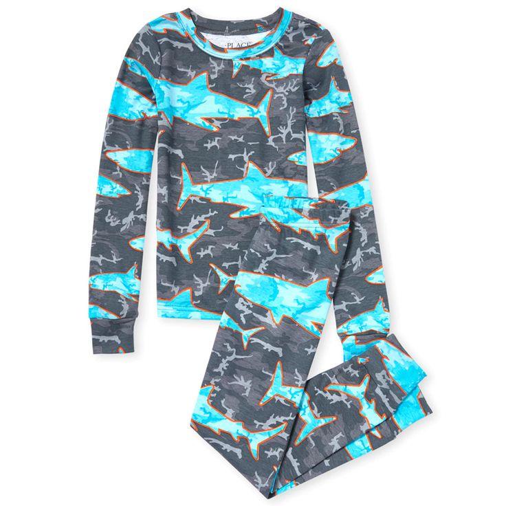Boys long sleeve shark camo snug fit cotton pajamas boys