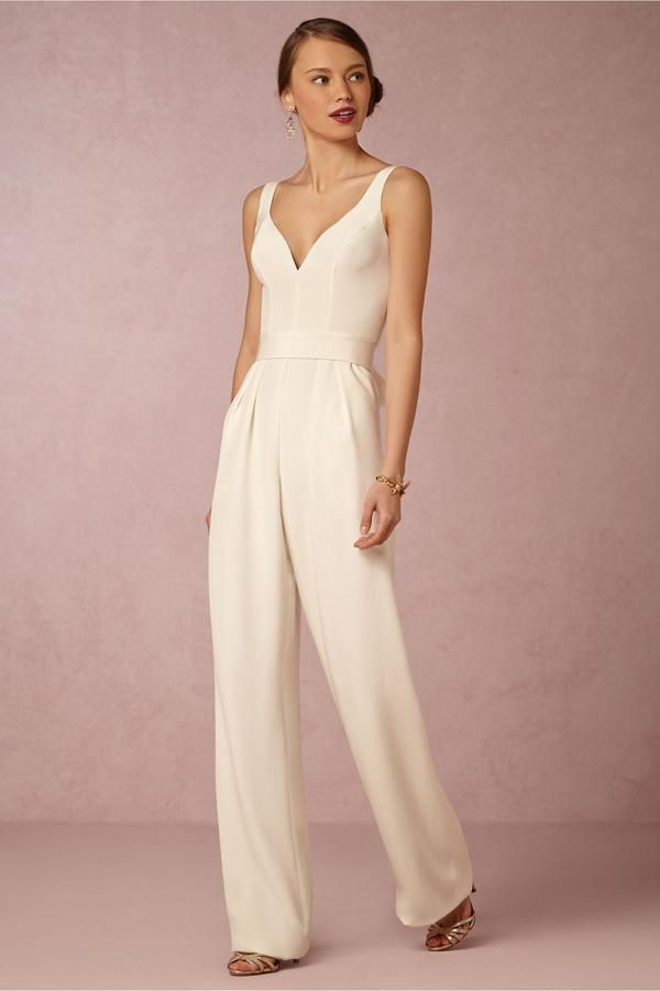 cream bridal jumpsuit with bustier top with deep v