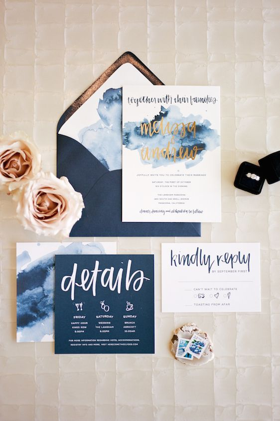 modern boho meets classic elegance navy wedding invitationswedding - Watercolor Wedding Invitations