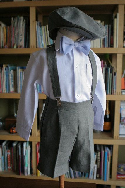 Full outfit of Shorts Bowtie Hat Suspenders and Shirt ring bearer page boy via Etsy