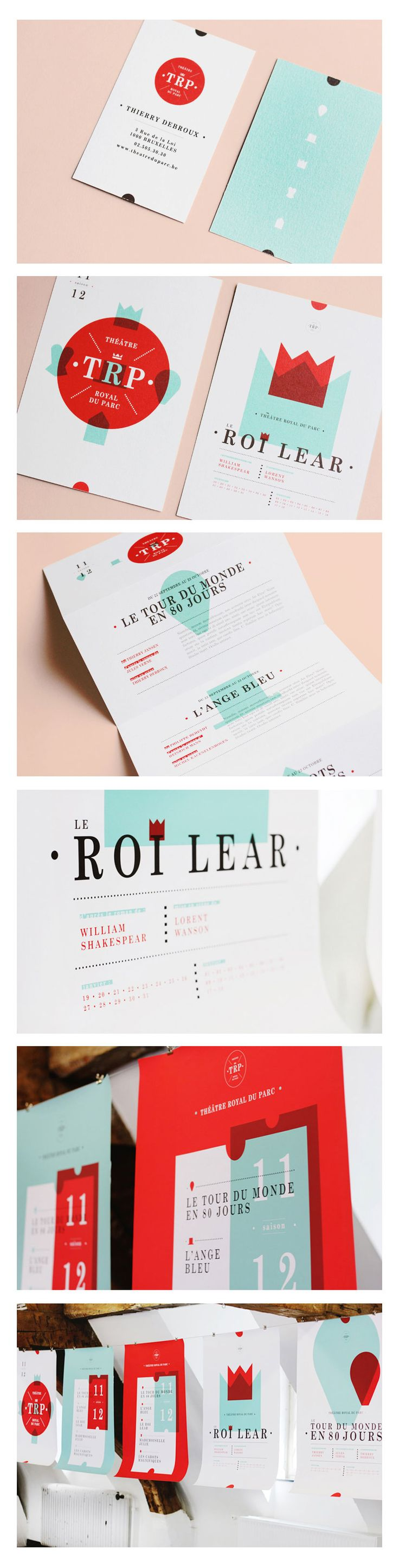 Visual Identity For Royal Park Theatre In Brussels by Noémie Cedille, Graphic Design, Typography, Design, Branding, Identity, Designer Mood Board, Seeing Red, Bar Napkin Productions #BarNapkinProductions #DesignerInspiration