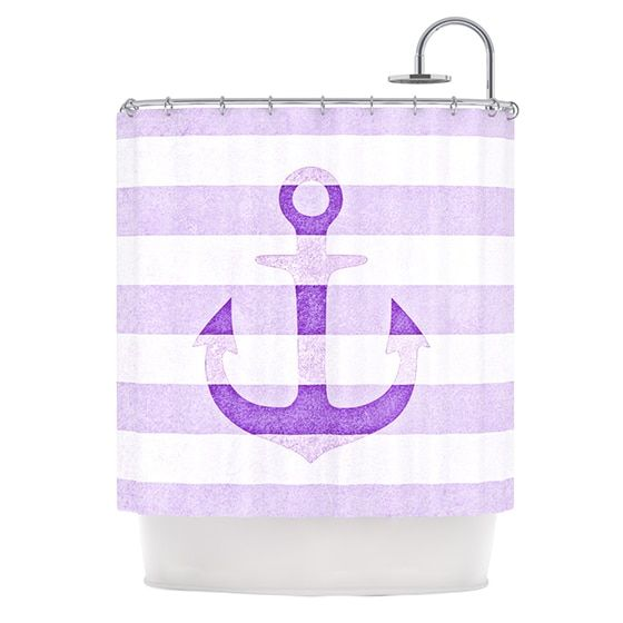 Kess InHouse Monika Strigel Stone Vintage Purple Anchor Shower Curtain