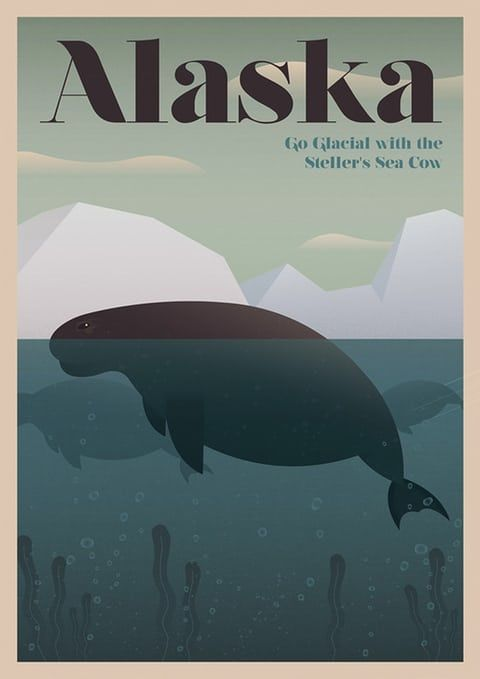 The Steller's sea cow, Alaska from a series of posters entitled Unknown Tourism by Expedia