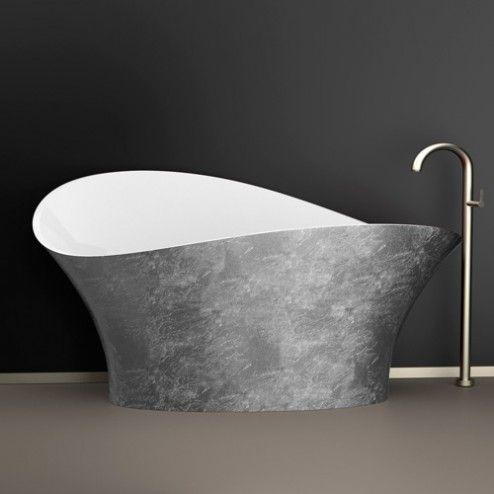 Flower Style Silver Vasca da bagno foglia argento con interno bianco lucido.
