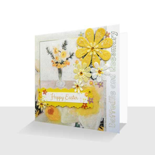 Easter Greeting Card : Yellow Floral, Unique Greeting Cards Online, Buy Luxury Handmade Cards, Unusual Cute Birthday Cards and Quality Christmas Cards by Paradis Terrestre